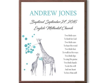 Giraffe Baptism Gift For Baby Boy, Personalized Baptism Present, Gift For Godchild
