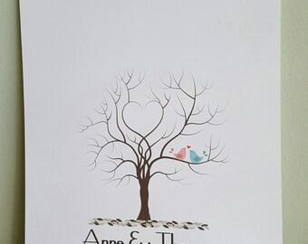 Wedding Finger Print Tree Keepsake an Alternative to Guest Book