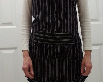 Apron from Men's Shirt Black Stripe