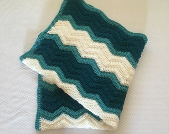 Ready to Ship Blue Ripple Baby Blanket, Baby Shower Gift