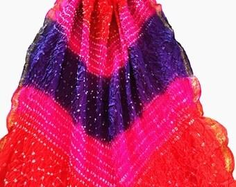 Indian Dupatta; Bandhani Silk Dupatta, Summer Scarf, Tie-Dyed, Multicolour, Ethnic Dupatta