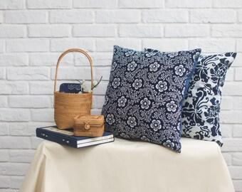 Handmade Cotton Blue Calico Cushion Cover
