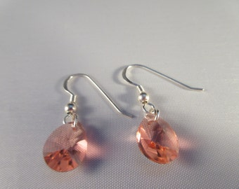 925 Sterling silver dangle earring with swarovski element -12mm