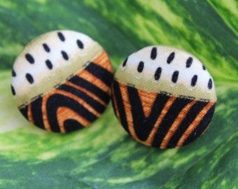 Wild child button earrings