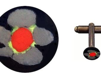 flower cufflink - grey, 10mm
