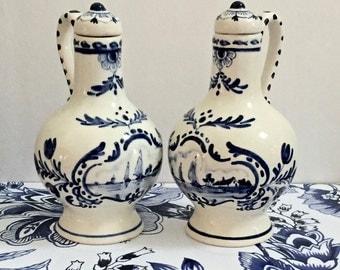 Home Decor-Vintage bottles Delft Blue Bottles-Decanters- Levert & Co Windmills and Sailboat,Amsterdam-Holland Decorative Ceramics