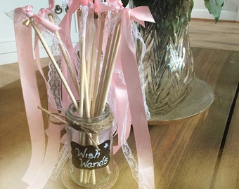 75 Wedding wish wands confetti favours with bell lace and ribbon MADE TO ORDER with sign