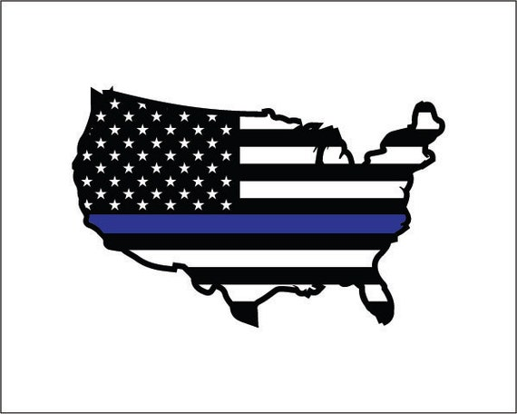 Thin blue line usa outline American flag decal Police Law