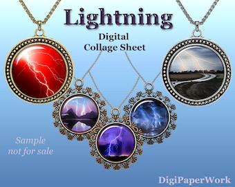 "Lightning Digital Collage Sheet for Glass Dome Pendants Bottle Caps Cabochons Magnets collage download thunderbolt Images 1.5"" 1"""