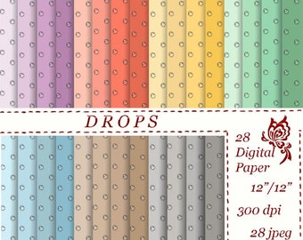Droplets Digital Paper Raindrops Instant download Drops pattern circle Personal and Commercial use