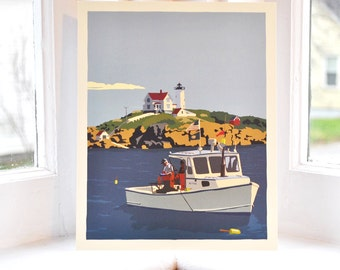 Lobstering at the Nubble Lighthouse 8x10 print © Alan Claude