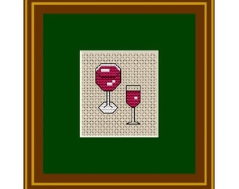 Pattern. Kitchen Decor. Counted Cross Stitch.Glasses of wine. PDF Instant Download.