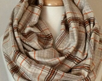 Plaid Infinity Fall Winter Orange Brown Scarf Scarfs Scarves Gift for Her Christmas Tube Flannel