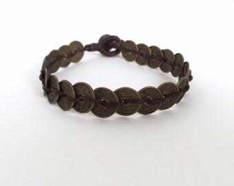 Chinese character bracelet, Brass bracelet, Brass jewelry, Lucky bracelet, Waxed cotton cord bracelet, Friendship bracelet, Coins bracelet