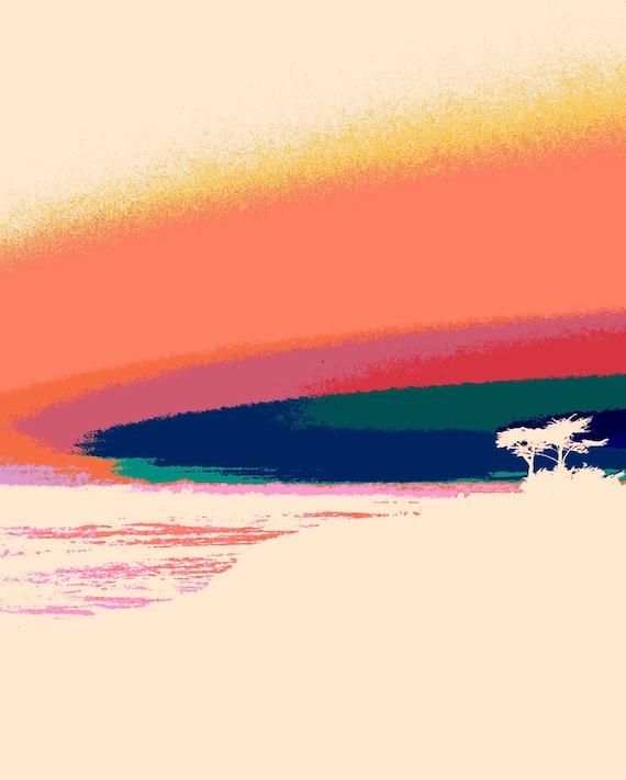 Modern Beach Print - surf art  orange, pink, green, and blue