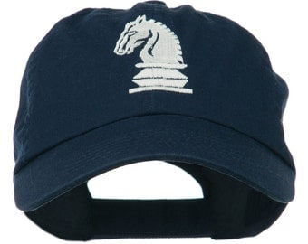 Chess Knight Embroidered Pet Spun Washed Cap