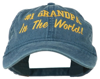 Number 1 Grandpa in the World Embroidered Washed Cotton Cap