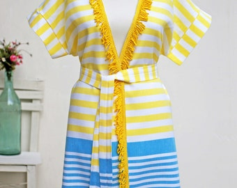 Yellow Peshtemal Bathrobe | Handmade Beach Dress