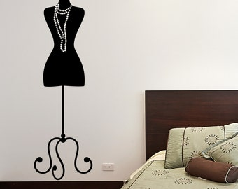 Dressmaker's Mannequin wall decal, Mannequin vinyl art interior decor, Silhouette dress form wall vinyl, Mannequin interior decor  126