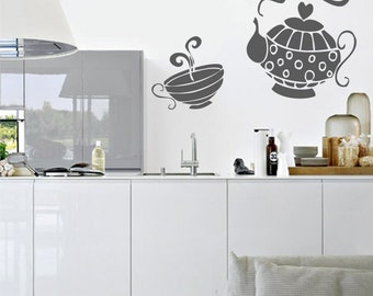 Time for tea Wall Decal, Decals Cafe Kitchen Wall Decal, Wall Decor Home Interior Design, Wall Decals Teapot Tea Time Kitchen Cafe 030
