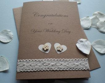 Rustic Themed Wedding Congratulations Card 5x7