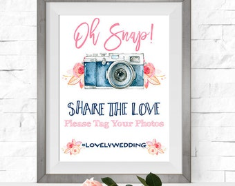 Wedding Hashtag Sign. Printable Wedding Social Media Sign - BL01