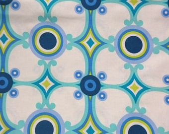 Blue and green retro pattern fabric