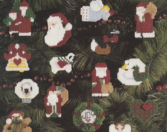 More Christmas Mini's, Leisure Arts Plastic Canvas Pattern Booklet 1144 Christmas Tree Ornaments Fridgies Gift Tags Magnets