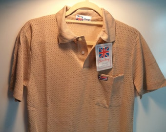 SALE Mesh athletic tee// Vintage tennis top new w tags// Preppy nude Yuen Keng polo// Men's small and medium