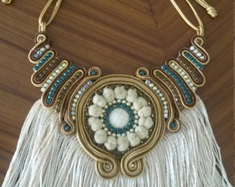 Soutache fringe necklace
