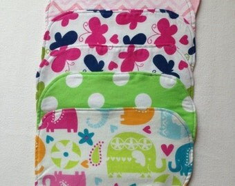 Flannel baby burp cloths in girl colors - set of 3