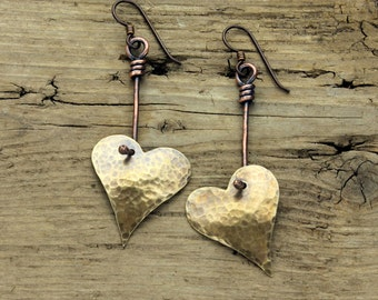 Hand forged Brass and Copper heart earring, sale price
