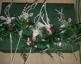 5 Vintage 1960s White Plastic Christmas Reindeer Deer Tall Antlers Holly Berries 10 Inches Sticks Long  Holiday Retro Home Decor Decorating
