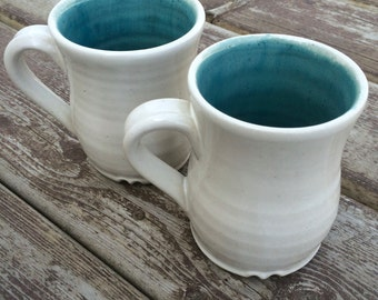 Farmhouse style white handmade pottery mug