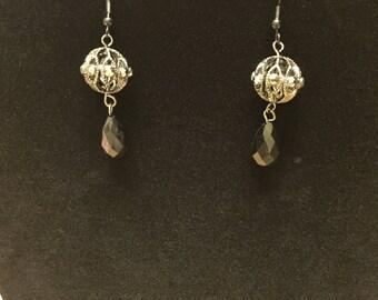 Black ball dangle earring