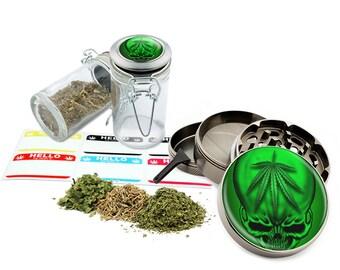 """Green Leaf Skull - 2.5"""" Zinc Alloy Grinder & 75ml Locking Top Glass Jar Combo Gift Set Item # G022015-020"""
