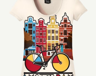 Amsterdam T-shirt, Amsterdam Shirt, Bicycle T-shirt, Bicycle Shirt, Women's T-shirt, Women's Shirt