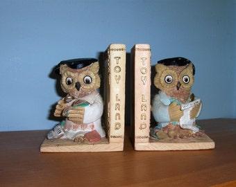 Vintage Artmark Owls Book Ends