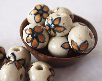 4 Ceramic Hand Painted Round Beads Flower Brown Natural size 13 x 16mm Hole 3mm