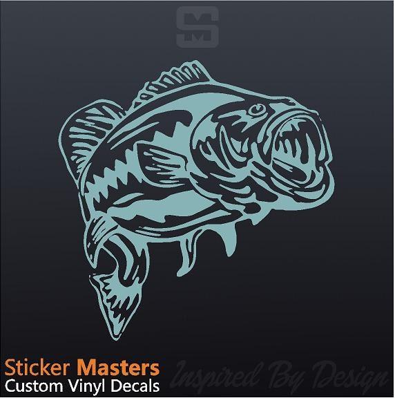 Bass decal bass sticker fishing decal bass by stickermasters for Bass fishing decals