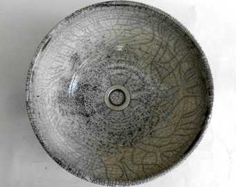Antique-white/grey / Raku / wash basin Ø 36 cm height 15,5 cm