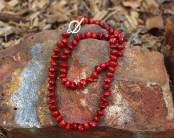 Handmade Red Sandalwood Seed & Small Black Bead Necklace