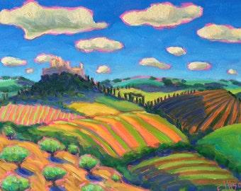 Colorful Tuscan Italian Imaginary Landscape Original Oil Painting Wall Art