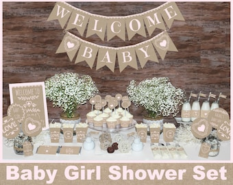 Rustic baby shower decorations, Girl baby shower decorations, woodland baby shower, burlap and lace decorations, Baby girl shower