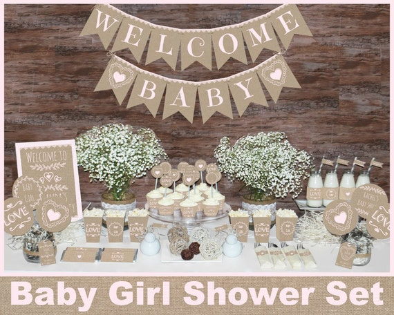 Rustic baby shower decorations girl