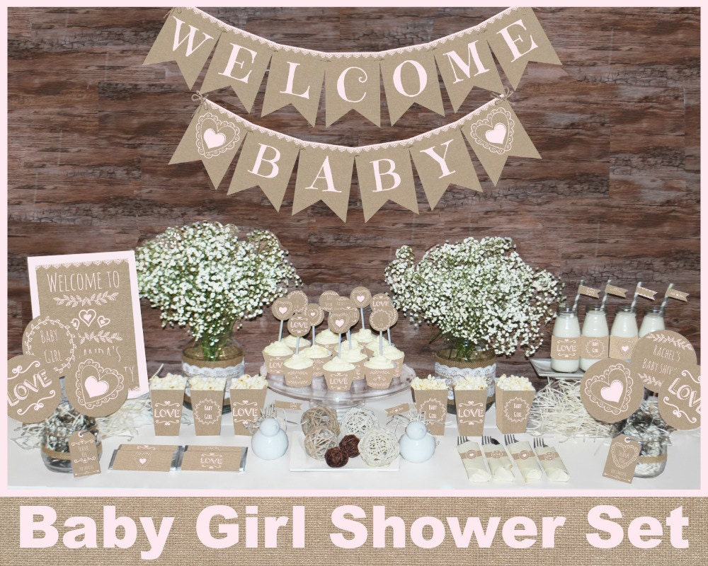 Rustic baby shower decorations girl baby shower decorations for Baby shop decoration ideas