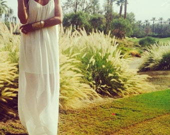 White maxi dress, low back dress, SIBERIA DRESS