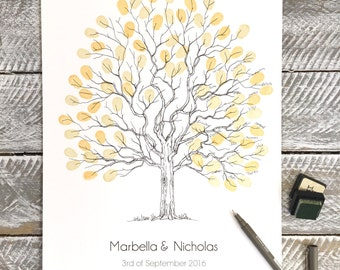 "A3 Fingerprint Tree wedding Guest Book  ""Elegant Tree"" A3 size + 2 free Ink Pads. Personalised with names and dates. FREE delivery Aust."