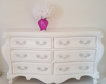 SOLD*****French Baroque style dresser, vintage dresser painted white,  hand painted furniture in Nj