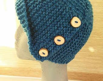 Hat in crochet with wooden buttons - Crocheted blue beanie with handmade wooden buttons - Handmade hats-Wool beanies-Knitted hats -